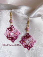 Orecchini rosa e amaranto al chiacchierino, perla in vetro di Boemia, perline dorate