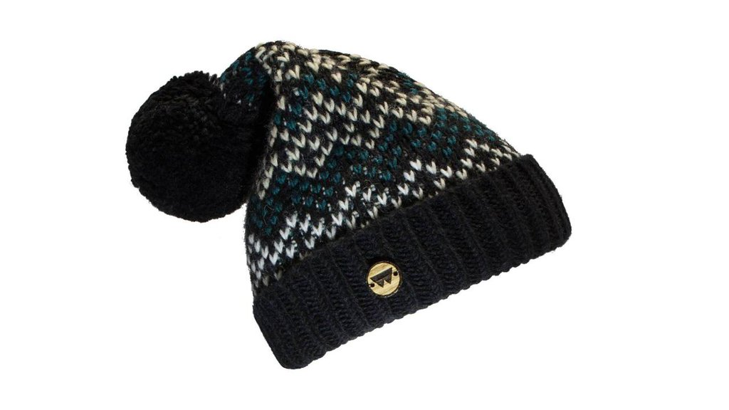Cuffia di lana modello COLD BLACK con inserto in legno di rovere