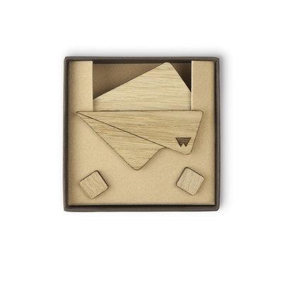 Pochette in legno di rovere e gemelli