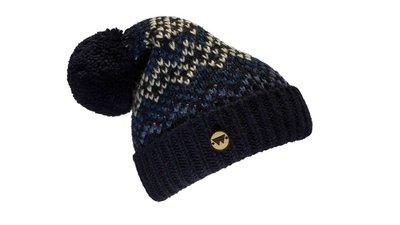 Cuffia di lana modello BLUE FREEZE con inserto in legno di rovere