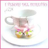 """Orecchini """" Cupcake bianco rosa """" muffin dolcetti miniature dollshouse idea regalo pasticceria bambina ragazza clip"""