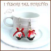"""Orecchini """" Cupcake cioccolato fragola """" muffin dolcetti Kawaii clip idea regalo miniature pasticceria"""