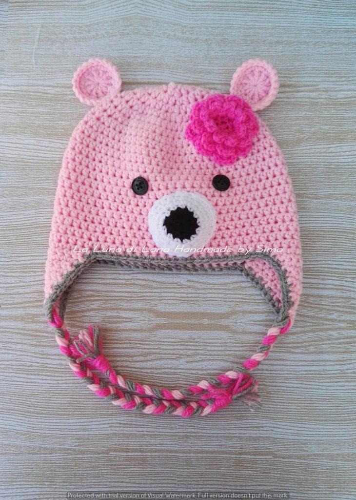 Cappello per  bambina a forma di orsetto rosa, in lana baby ideale per l'inverno.
