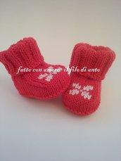 Scarpine stivaletto in lana merinos rossa