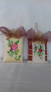 Set di 2 Pendagli in stoffa dipinta a mano per albero di Natale