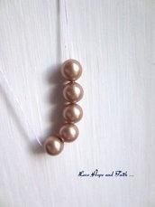 """LOTTO 5 perle """"Powder Almond Pearl  """" (8 mm) (cod. S5810)"""
