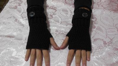 Guanti senza dita in lana nera