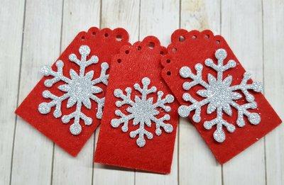3 tags natalizie rosse e argento