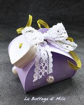 Bomboniera Scatolina Lilla, matrimonio, nascita, battesimo, comunione, cresima, confetti, gessetto, cuore, lilla