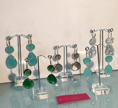 orecchini in vetro arricchiti da brillantini