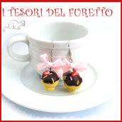 """Orecchini Cupcake """" Zuccherini colorati """" Kawaii Fimo cernit dolcetti pasticceria idea regalo clip"""