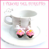 """Orecchini Cupcake """" Cioccolato crema rosa """" fragola idea regalo clip Kawaii bambina natale"""