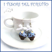 """Orecchini Cupcake """" crema azzurra codette cioccolato """" Fimo cernit Kawaii Natale idea regalo clip"""
