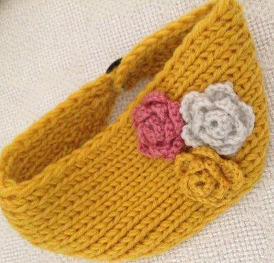 fascia scalda orecchie gialla in lana
