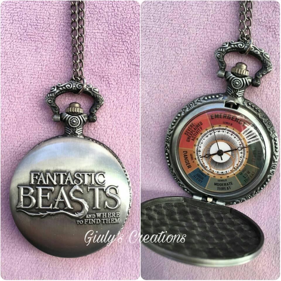 Fantastic Beasts Collana orologio Animali Fantastici e come trovarli Newt Scamander Esposizione magica livello minaccia Harry Potter Hogwarts