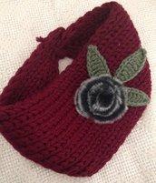 fascia scalda orecchie bordeaux in lana