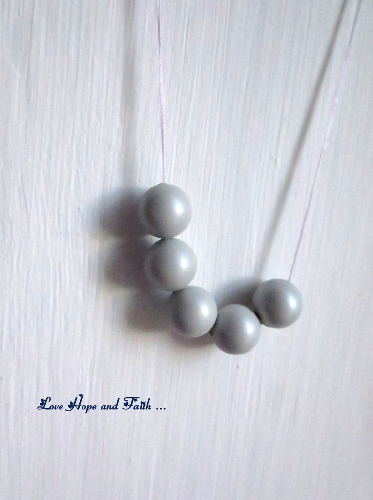 "LOTTO 5 perle ""Grey Pearl"" (8 mm) (cod. S5810)"