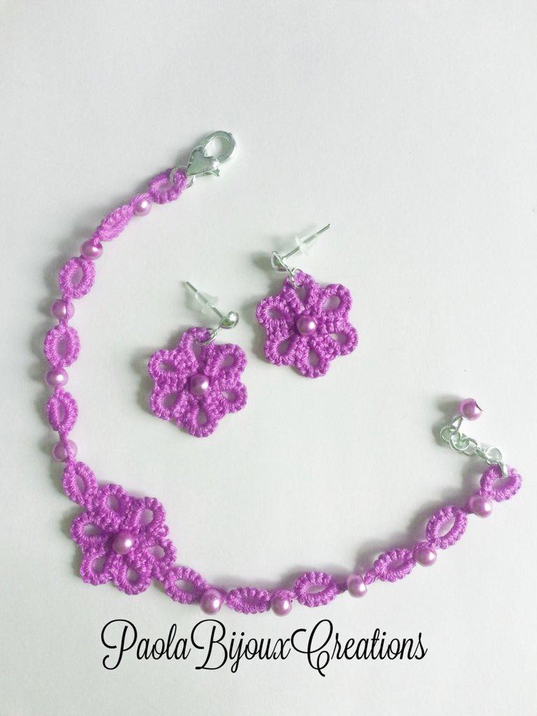 Parure Bracciale/Orecchini al Chiacchierino, 57 Colori, Rose, Fiori, Idea Regalo Donna, Estate, Uncinetto