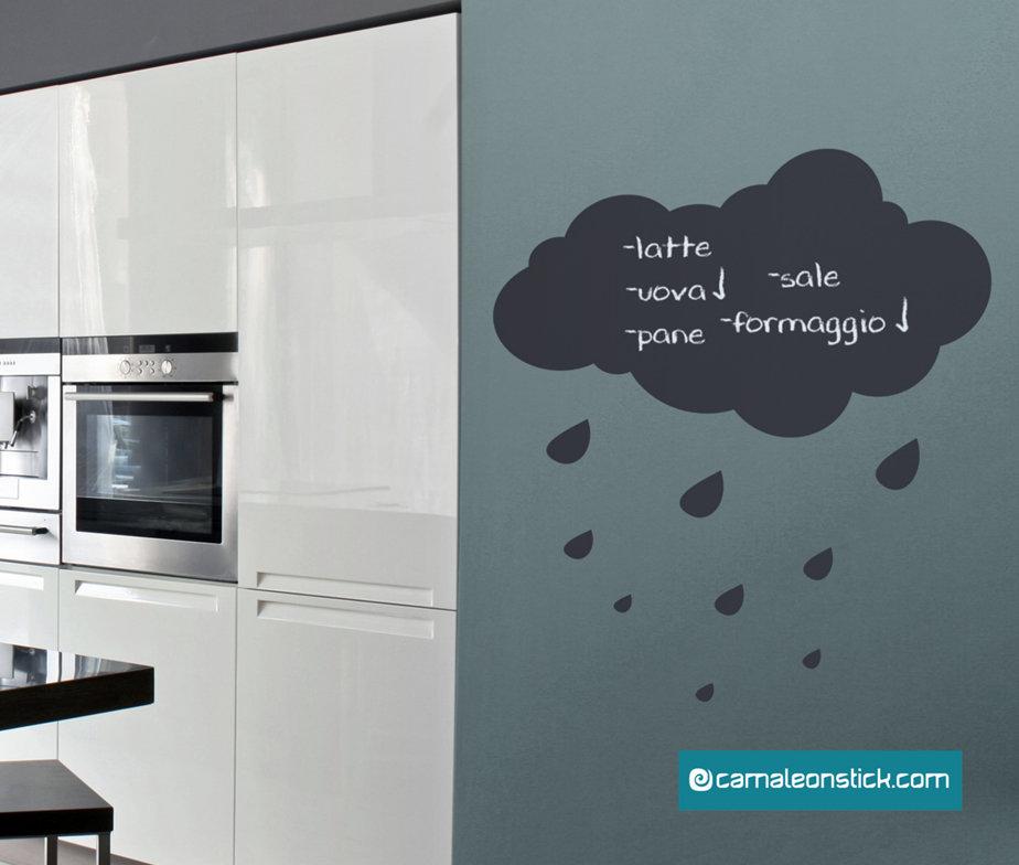 Lavagna adesiva nuvola adesivo murale lavagna da for Stickers lavagna cucina