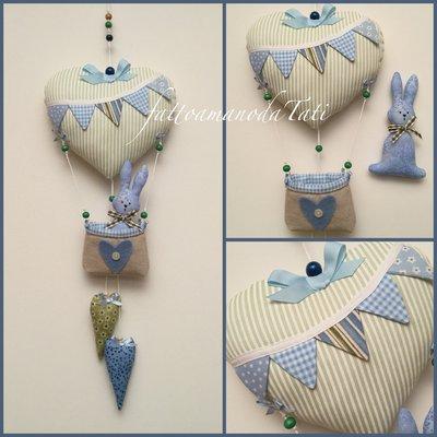 Fiocco nascita mongolfiera con coniglietto nei toni del verde/azzurro