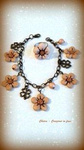 Offerta!! Idea regalo Natale! Bracciale + anello in fimo eleganti handmade con fiorellini anticati e perline idee regalo donna idea regalo natale