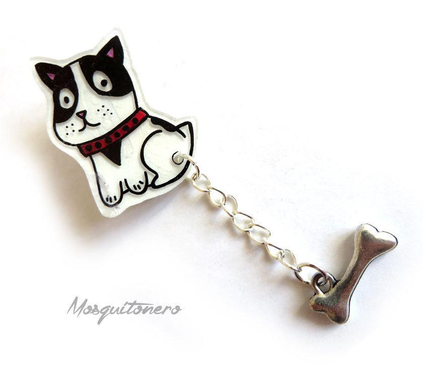 Spilla Cane cagnolino con osso artigianale pins per gli amanti dei cani