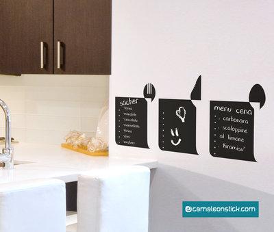 Lavagna adesiva menu ricette - adesivo murale promemoria - lavagna da parete appunti - lavagna sticker
