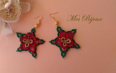 Orecchini moda chiacchierino handmade pizzo rosso Stella di Natale idea regalo