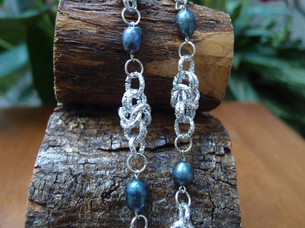 Collier chainmail intreccio bizantina con perle di fiume