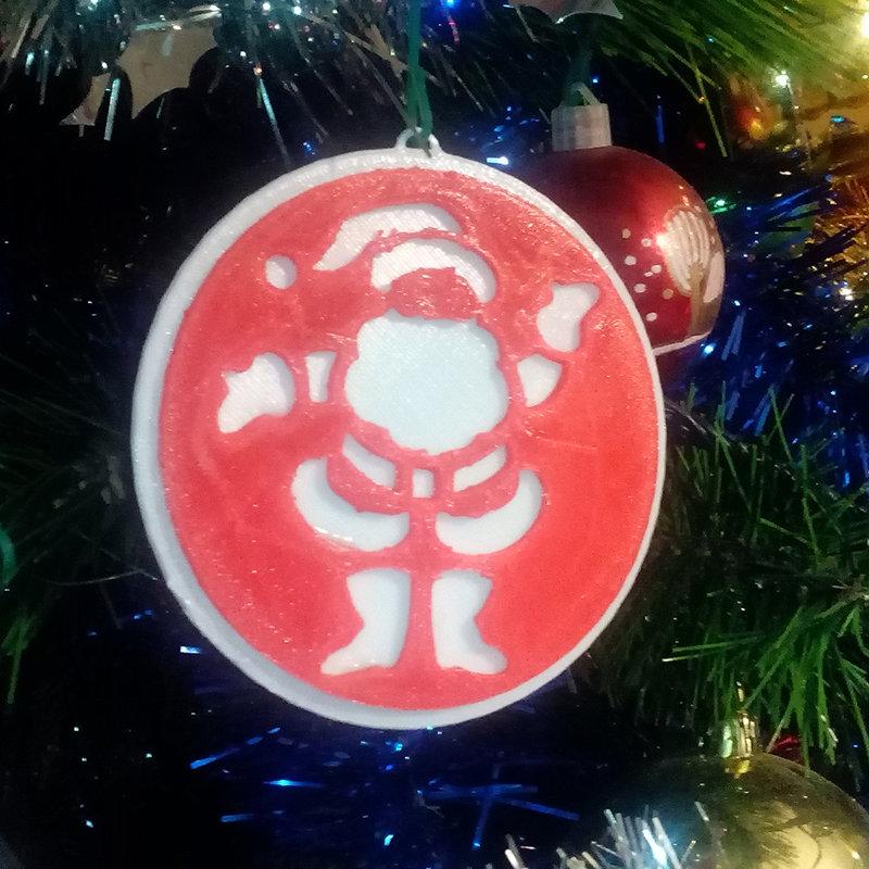 Palle di Natale per addobbi Natalizi decorato con intaglio di Babbo Natale materiale plastico fronte retro bianco rosso