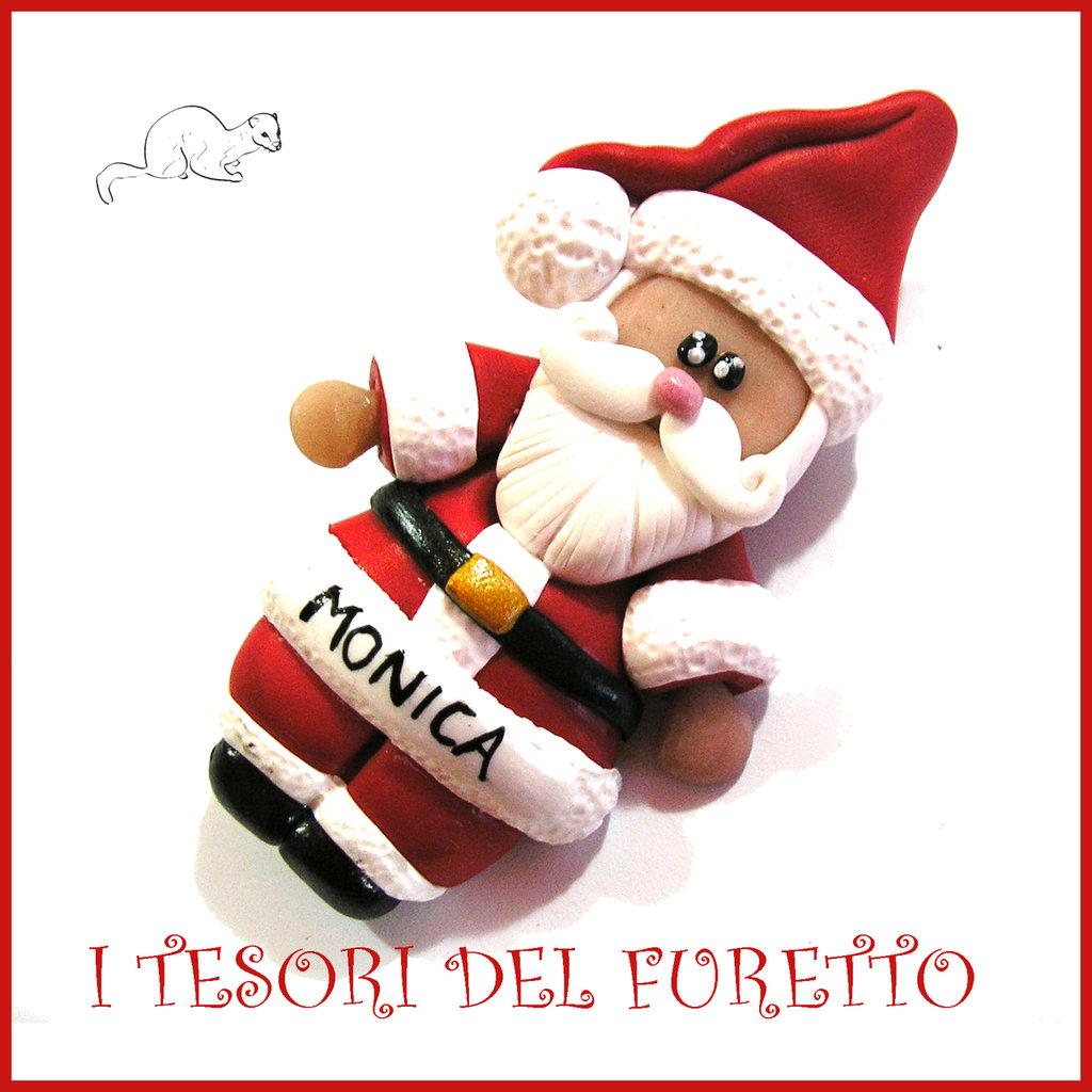 """Spilla Natale 2016 """" Babbo Natale """" segnaposto personalizzabile nome idea regalo pin cappotto sciarpa natalizia ide regalo Kawaii handmade economica"""