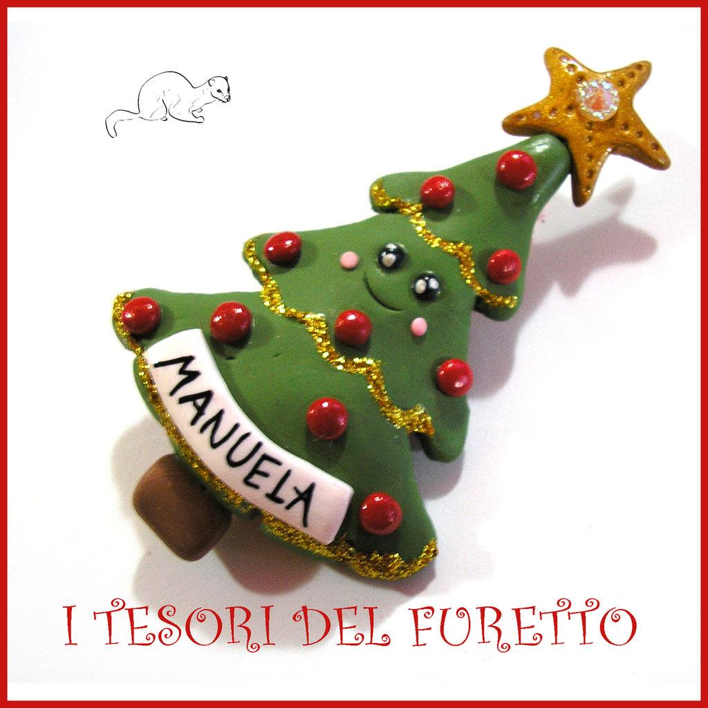 """Spilla Natale 2016 """" Albero di Natale """" segnaposto personalizzabile nome idea regalo pin cappotto sciarpa natalizia ide regalo Kawaii handmade economica"""