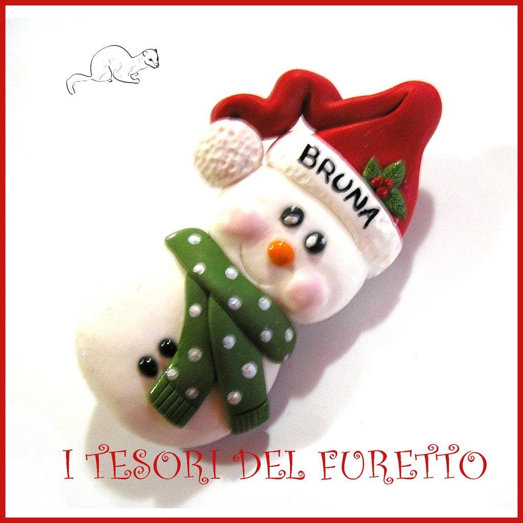 """Spilla Natale 2016 """" Pupazzo di neve """" segnaposto personalizzabile nome idea regalo pin cappotto sciarpa natalizia ide regalo Kawaii handmade economica"""