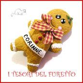 """Spilla Natale 2016 """" Pandizenzero gingerbread"""" segnaposto personalizzabile nome idea regalo pin cappotto sciarpa natalizia idea regalo Kawaii handmade economica"""