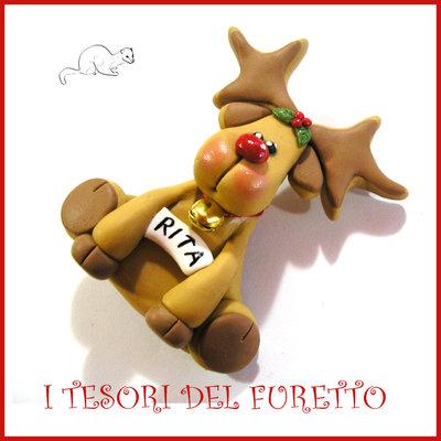 """Spilla Natale 2016 """" Renna """" segnaposto personalizzabile nome idea regalo pin cappotto sciarpa natalizia ide regalo Kawaii handmade economica"""