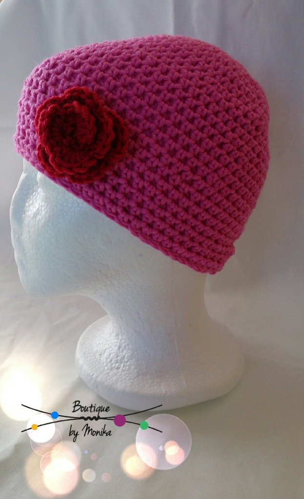 Berretto bimba o donna con la rosa