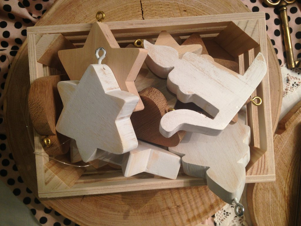 Set 13 decorazioni natalizie in legno per albero o come - Decorazioni in legno ...