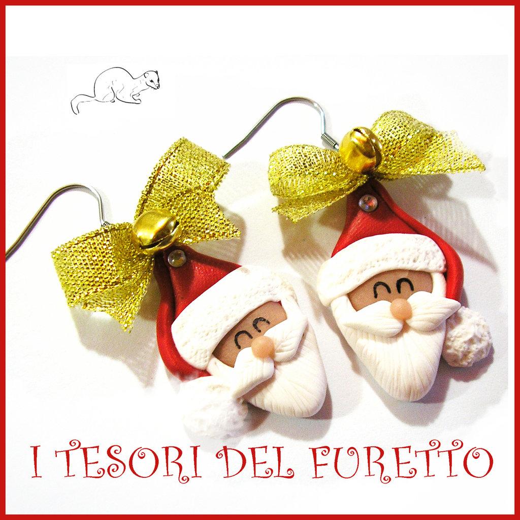 """Orecchini Natale 2016 """" Babbo Natale fiocco oro """" fimo Kawaii idea regalo natalizio bambina ragazza clip kawaii"""
