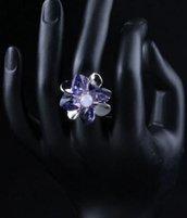 Anello a forma di fiore con perline e petali cuore swarovski elements originali idea regalo per lei