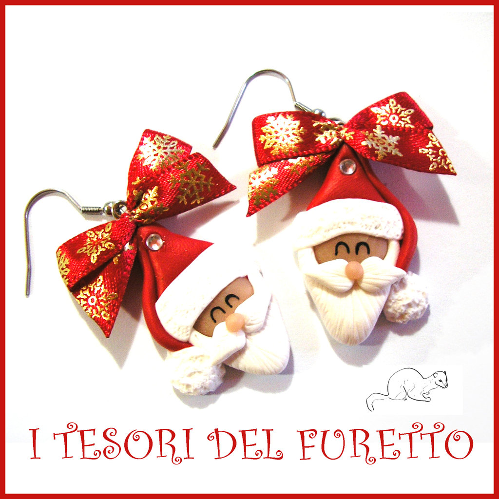 """Orecchini Natale 2016 """" Babbo Natale fiocco rosso oro """" fimo Kawaii idea regalo natalizio bambina ragazza clip fiocco neve"""