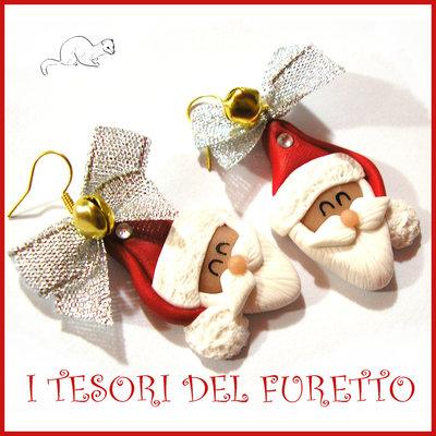 "Orecchini Natale 2016 "" Babbo Natale fiocco argento "" fimo Kawaii idea regalo natalizio bambina ragazza clip Kawaii"