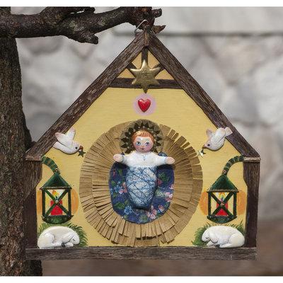 presepe da parete in legno e sagome in pasta modellabile a base minerale - bassorilievo - Natale