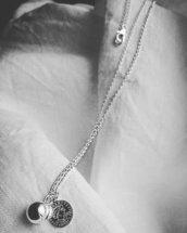Collana lunga catena Argento 925, charms pendenti Sfera e Moneta Argento 925.