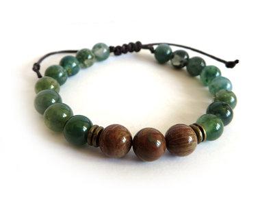 Bracciale da uomo con perle in AGATA verde da 8mm chiusura macrame artigianale
