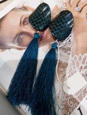 orecchini lunghi a perno azzurri