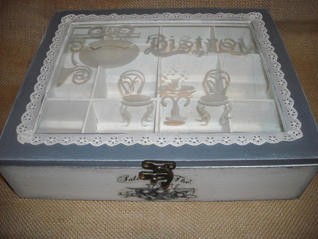 Romantica scatola contenitore per bustine tè o tisane con pizzo
