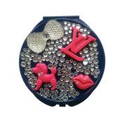 Specchietto da borsetta compatto make up fiocco strass - PEZZO UNICO!