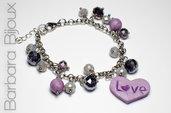 Bracciale cuore lilla, catena acciaio inox perle lilla e viola, idea regalo.