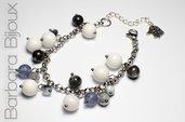 Bracciale acciaio inox, perle grigio e bianco, idea regalo elegante.