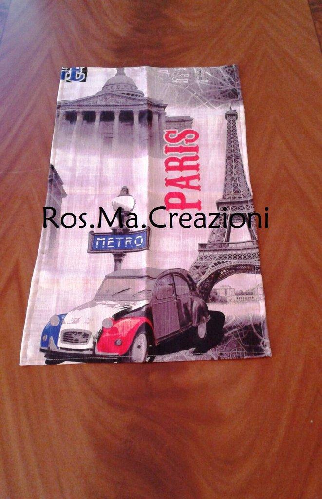 Runner Centrino rettangolare con fantasia Parigi Torre Eiffel in Stoffa Fatto A Mano